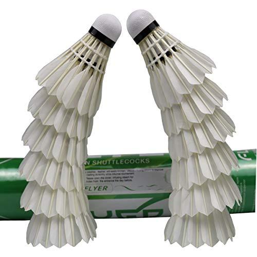 DOURR Advanced Badminton Shuttlecocks 12 Pack, White Goose Feather High Speed Birdies Balls (Best Badminton Feather Shuttlecock)
