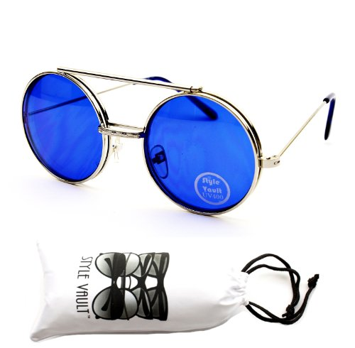 V137-vp Flip up Round Metal Sunglasses (Col - Blue Glasses Round