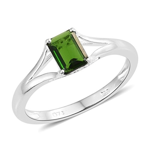 925 Sterling Silver 0.8 Cttw Octagon Chrome Diopside Solitaire Fashion Ring For Women Size 8 - Designer Diopside Ring