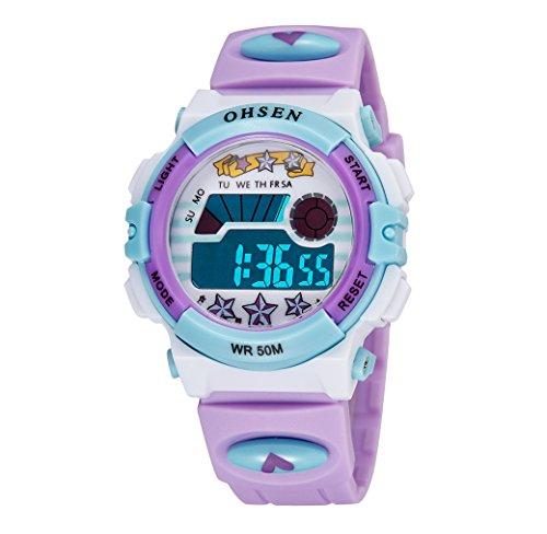 Aubig Colorful Watch Outdoor Sports Boys Girls LED Digital Alarm Stopwatch Waterproof Student Wristwatch Dress Gift Watch Purple ()