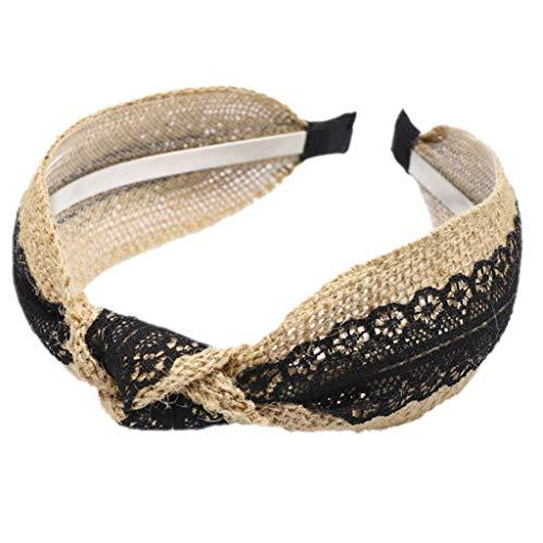 RingBuu - Hair Hoop, Pastoral Style, Handmade, Weaving Wide Headband, Women/Girls, Contrast Color, Floral Lace, Splicing Hair Hoop, Twist Knotted Headwear