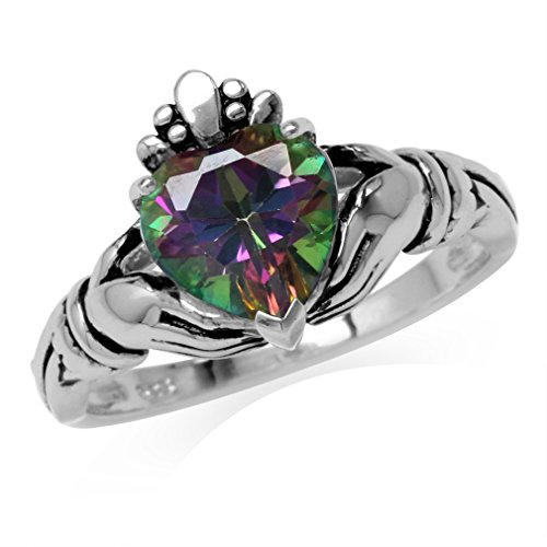 2.33ct. Mystic Fire Topaz 925 Sterling Silver Claddagh Ring Size 8