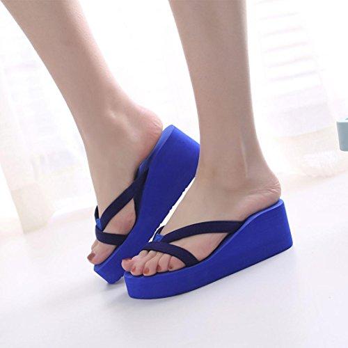 Talons Femmes Sandales Chaussures Bleu Sonnena Des À Plage Semelle Pantoufle Épaisse Femmes De Flip La Mode Les Flops D'été Pour Le Coin De 471q4H