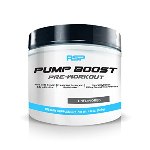 RSP Pump Boost - Stimulant Free Pre Workout & Nitric Oxide Booster, N.O. Boost for Enhanced Pumps, Energy Boost, and Improved Training Endurance, Unflavored, 1 Month Supply