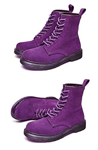 Honeystore Schnür Stiefeletten Worker Boots Profilsohle Schnürschuhe Schlupfstiefel Combat Boots Leder Winter Stiefel Schuhe Violett