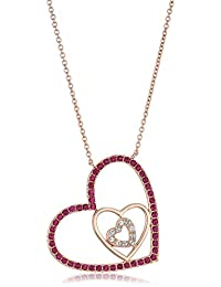 """Rose Gold-Plated Swarovski Crystal Pink Fuchsia A Triple Open Heart Pendant Necklace, 18"""""""
