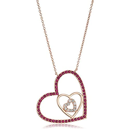 cc310b6fb on sale Rose Gold-Plated Swarovski Crystal Pink Fuchsia A Triple Open Heart  Pendant Necklace, 16