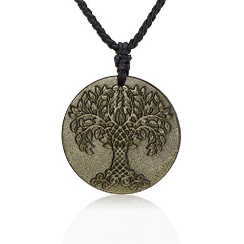 HASKARE Natural Energy Stone Pendant Engraved Black Obsidian Healing Necklace Adjustable Size 27.5inch (Tree Pendant)