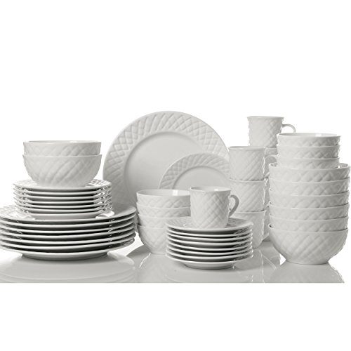 GIBSON HOME 48-PIECE ANTIQUE INSPIRED QUILT DINNERWARE SET FOR ONLY $69.98!