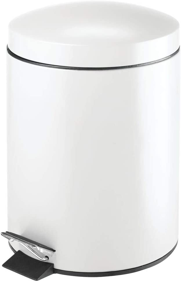 mDesign Modern 1.3 Gallon Round Small Metal Step Trash Can Wastebasket, Garbage Container Bin - for Bathroom, Powder Room, Bedroom, Kitchen, Craft Room, Office - Removable Liner Bucket - White