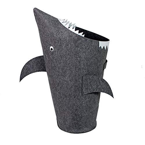 Bins & Things Shark Kids Laundry Hamper | Toy Organizer Basket | Baby Clothes Nursery Basket with Handles - Real Shark Look with Teeth, Fins, Eyes (Tall Kids Hamper)