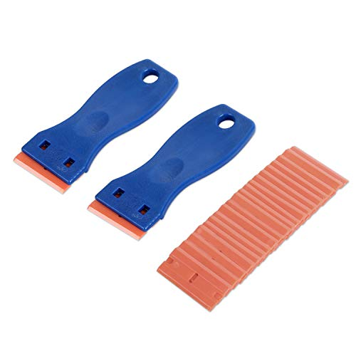 GISSVOGEEK Plastic Razor Blade Scraper, 2-Pack Scraper Tools with 20-Pack Plastic Razor Blades Decal Sticker Remover for Removing Labels/Stickers/Decals from Glass