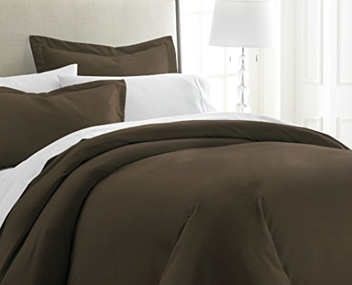 ienjoy Home 3 Piece Home Collection Premium Luxury Double Brushed Duvet Cover Set, California King, Chocolate