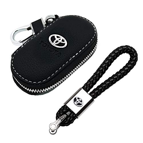 VILLSION Genuine Leather Keychain Car Key Ring with Zinc Alloy Buckle