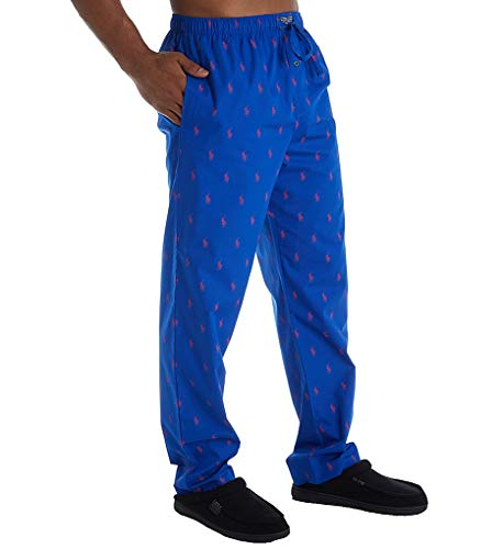 (Polo Ralph Lauren Men's All Over Pony Sleep Pants Sapphire Star/Rl2000 Red All Over Pony Print X-Large)