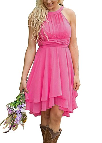 - Meledy Women's Strapless Chiffon Bridesmaid Dresses Halter Ruched High Low Prom Evening Gowns Plus Size Hot Pink US24