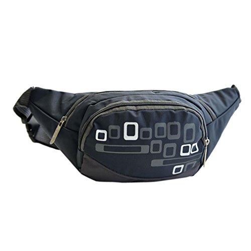 Price comparison product image Kimloog Unisex Outdoor Waist Bags Running Belt Bum Waist Pouch Hip Fanny Travel Pack Zip Waterproof Sports Bag (dark blue)