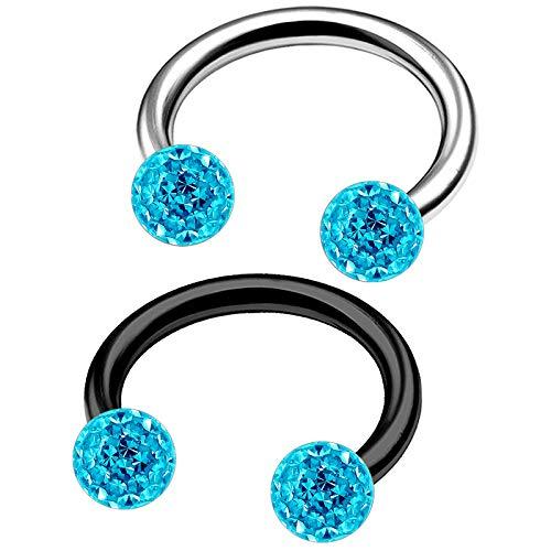 2Pcs Steel Black Anodized 16g 5/16 8mm Horseshoe Barbell Piercing Jewelry Tragus Daith 3mm Aquamarine Ferido Crystal M3905 -