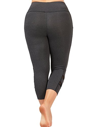 Fenxxxl Power Flex Yoga Capris Pants Tummy Control Workout Running 4 Way Stretch Crop Leggings F67 Grey 2XL by Fendxxxl (Image #4)