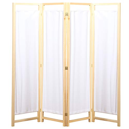 - MyGift Natural Wood & White Fabric 4 Panel Partition Screen/Freestanding Hinged Privacy Room Divider