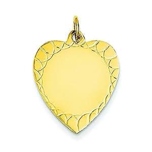 14ct, 018 grabadas Disc para pulsera en forma de corazón de gran calibre Engraveable - JewelryWeb