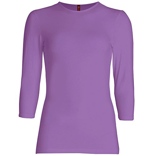 (Esteez Womens 3/4 Sleeve Shirt Relaxed FIT EX801136 Purple Medium)