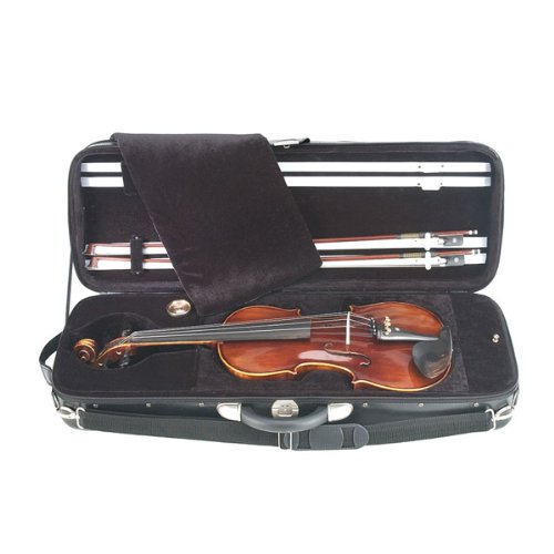Cecilio 15 Inch Hand Oil Rubbed Highly Flamed 2-Piece Back Solidwood Viola with Tuner, CVA-600