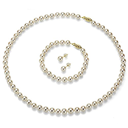14k Yellow Gold 6-6.5mm White Freshwater Cultured Pearl Necklace, Bracelet and Stud Earrings Set