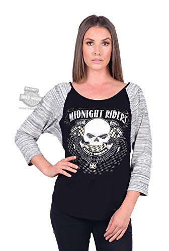 Harley-Davidson Womens Midnight Riders Willie G Skull Raglan 3/4 Sleeve T-Shirt (1X) Black