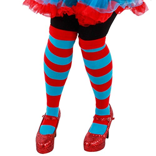 Thing One Thing Two Halloween Costumes (elope Dr Seuss Thing 1 & 2 Striped Knee High Socks)