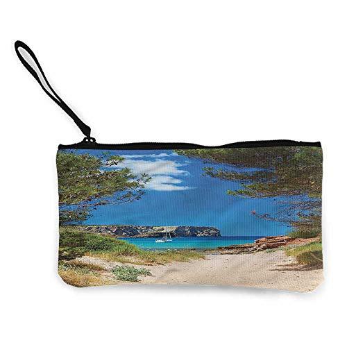 Zip Mini Wallet Beach,Sand Pathway to Ocean W8.5