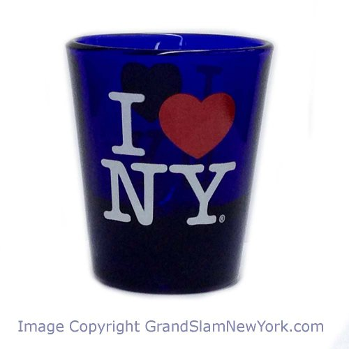 (I Love NY Classic Royal Blue Shot Glass, Microwave and Dishwasher Safe)