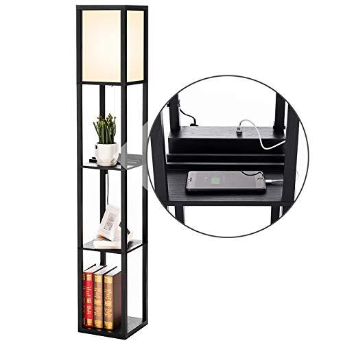 PROMECITY vloerlamp met plank met USB-oplaadaansluiting, torenopslagplanken voor slaapkamers, moderne vloerlamp en…