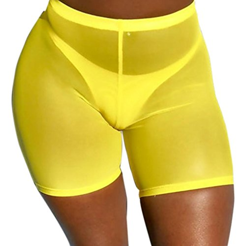 Fiaya Women's Sexy Solid Pants Elastic Waistband Mesh See Through Short Hot Pants Cover up (Yellow, XL)