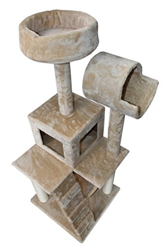 "Ranking 49"" Cat Tree For under 10lbs Kitten only Tower Condo Furniture Scratch Post Kitty Pet House Play Furniture Sisal Pole Stairs and Hammock (Beige)"