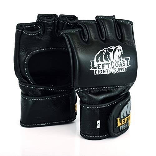 Left Coast Fight Supply   MMA Gloves   Genuine Leather   Open Palm   Grapilimg   Jujitsu   Sparring