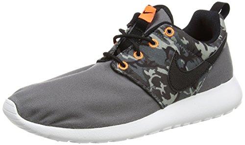Nike 677782-004: Roshe Run Print (GS) Grey/Black Unisex Running Youth Boy Size (Boy/Girl/Men 6.5 = Women 8)