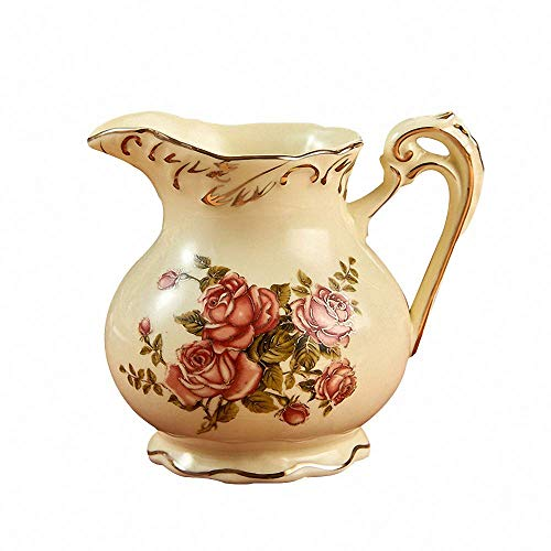 Vintage Royal Gold Drawing Flower Ceramic Creamer Large Capacity Coffee Milk Tea Pitcher Porcelain Honey Jug Sauce Pitcher Jug Vase Syrup Dressing Server Mug Cup with Handle Home Decor