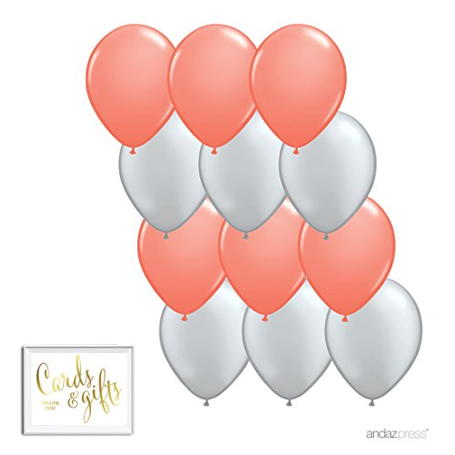Andaz Press 11-inch Latex Balloon Duo Party Kit with Gold Cards & Gifts Sign, Coral and Silver Gray, 12-pk (Coral Silver)