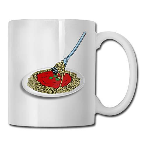 FOECBIR Spaghetti Noodles Custom Coffee Mug 11Oz Unisex Novelty Ceramic Tea Cup]()