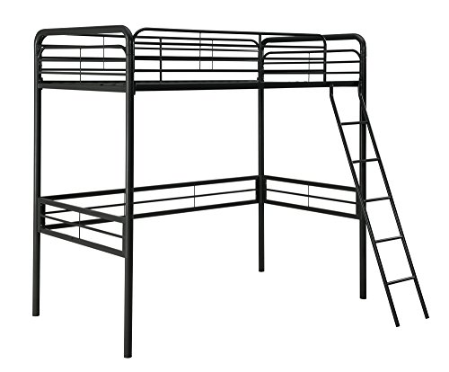 DHP Simple Metal Loft Bed Frame, Multifunctional, Twin Size, (Dorm Desk Chairs)