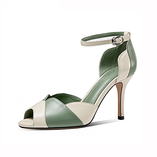 HUL Sandals Sandals Sandals HUL High Heels Ms Summer Fashion Simple Mixed Colors Fish Mouth Women's Banquet Bandages Hit Color... B07F9TRDDW Shoes b27d34