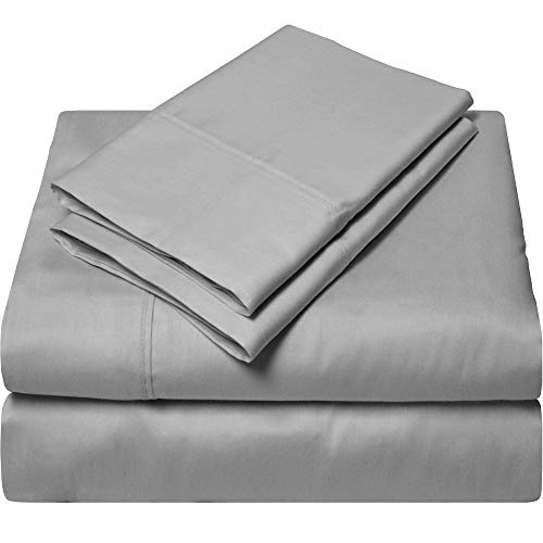 SGI bedding California King Size Sheets Luxury Soft 100% Egyptian Cotton 1000 Thread Count- Sheet Set for Cal King Mattress Light Gray Solid