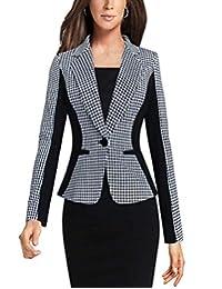 MFrannie Women's One Button Work Blazer Long Sleeve Casual Plaid Bodycon Jacket