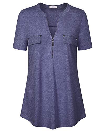 Blue Womens Tops, Ca Kra Blouses for Leggings for Ladies Zip V-Neck Short Sleeve Summer Casual Shirts, Navy Blue - Side Blouse Zip