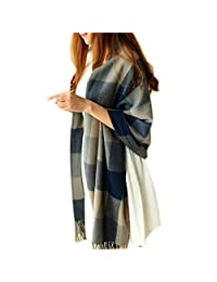 Rokou Multicolored Blue Checked Scarves Wool Tassel Shawl Scarf Wrap