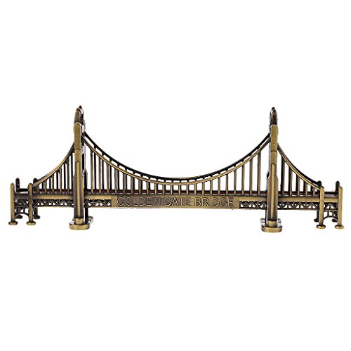 MonkeyJack Retro Metal Building Model Decoration Golden Gate Bridge Statue Cafe Decor