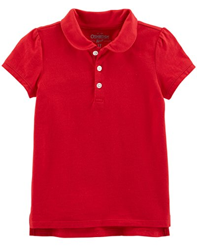 Osh Kosh Girls' Short Sleeve Uniform Polo, Red 1, 10-12