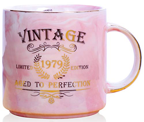 1979 40th Birthday Gifts for Women and Men Ceramic Mug - Funny Vintage 1979 Aged To Perfection - Anniversary Gift Idea for Him, Her, Mom, Dad Husband or Wife - Ceramic Marble Cups 13 oz (Pink) ()