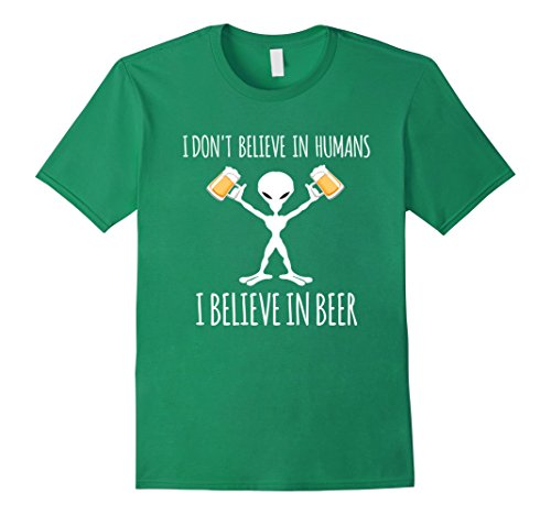 Cult Costume Ideas (Mens I Believe in Beer - Funny drinkin Alien Costume Halloween Small Kelly Green)